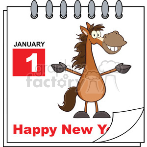 Happy new year horse clipart black and white Royalty Free RF Clipart Illustration Happy New Year Calendar With Open Arms  Smiling Horse clipart. Royalty-free clipart # 393181 black and white