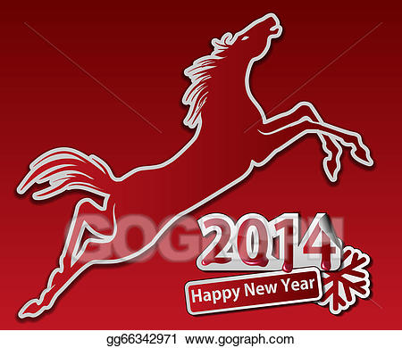 Happy new year horse clipart picture transparent download EPS Illustration - Jumping horse. happy new year. Vector Clipart ... picture transparent download