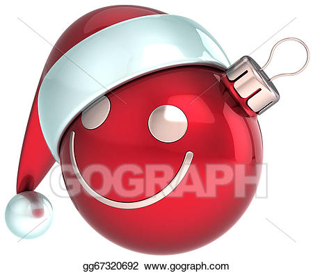 Happy new year smiley face clipart graphic royalty free stock Stock Illustration - New year smiley face christmas ball. Clipart ... graphic royalty free stock