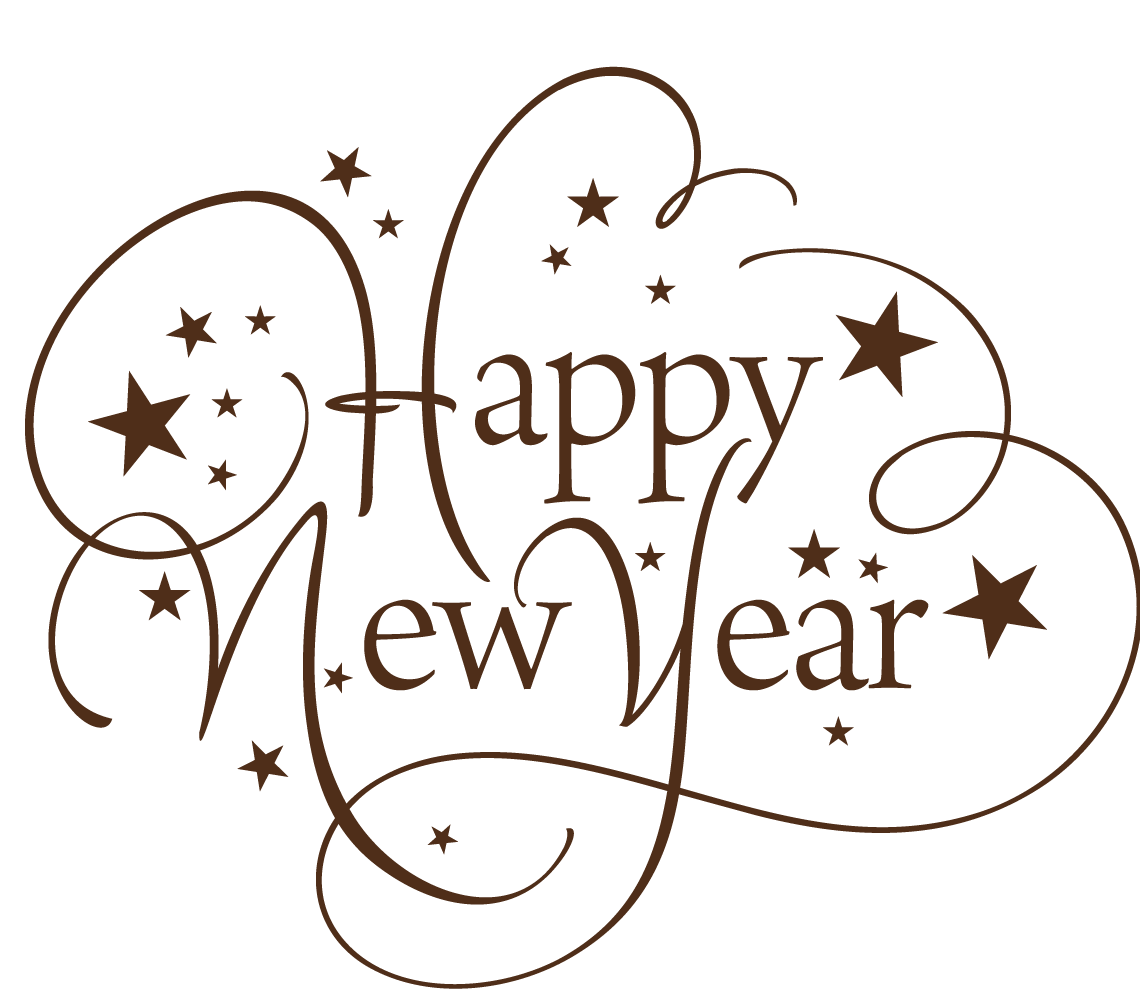 Happy new year text clipart picture library library Happy New Year Thin Text transparent PNG - StickPNG picture library library