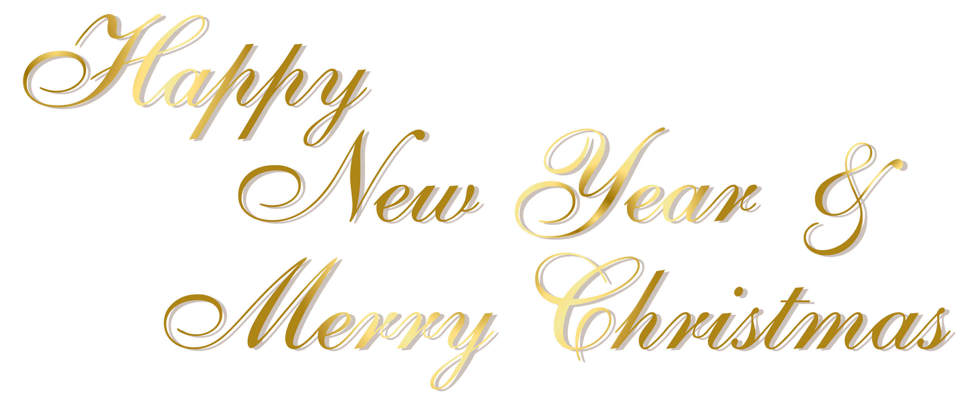 Happy new year text clipart black and white Gold Happy New Year and Merry Christmas PNG Text | Gallery ... black and white