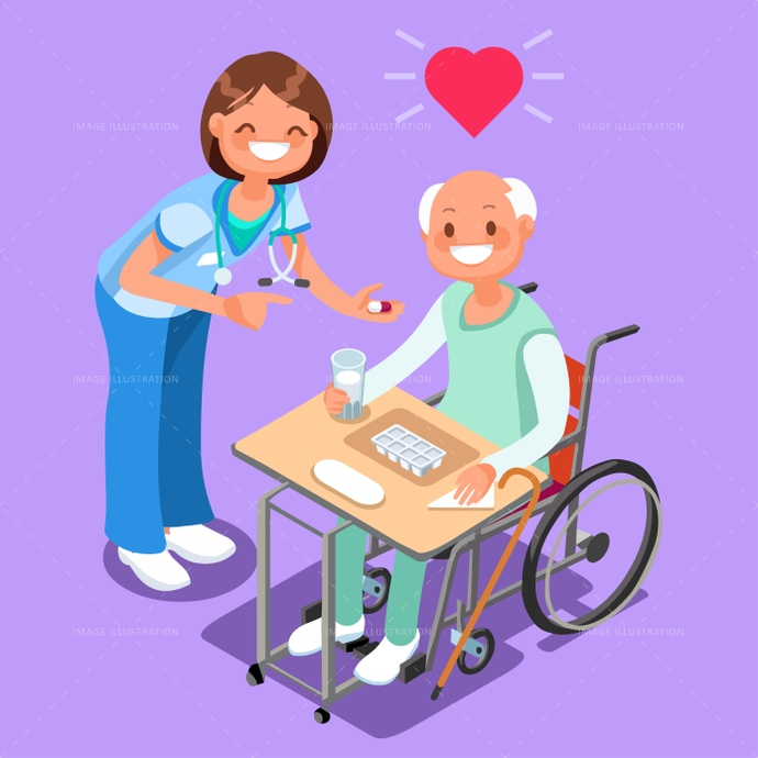 Happy patient clipart graphic freeuse download Nurse with Patient in Hospital Isometric People Cartoon Vector graphic freeuse download