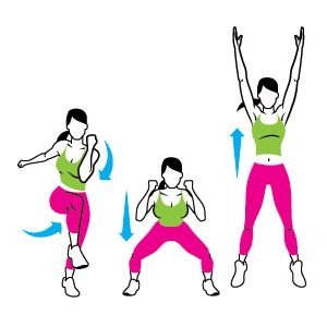 Happy person with arms raised jump up clipart chest out picture free library Cross-Crawl Squat Jump: With your arms in front of your chest ... picture free library