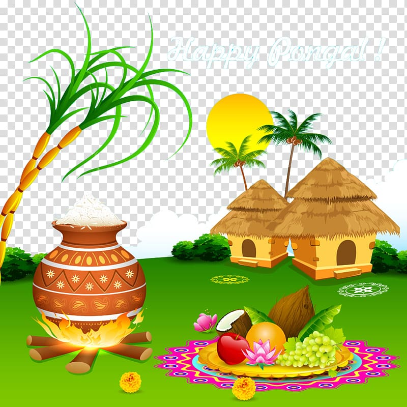 Happy makar sankranti clipart image black and white library Happy Pongal! greeting illustration, Thai Pongal Makar Sankranti ... image black and white library