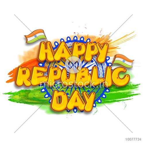 Happy republic day clipart clip art freeuse stock Stylish text Happy Republic Day with Ashoka Wheel on Indian National Flag  colour strokes background. clip art freeuse stock
