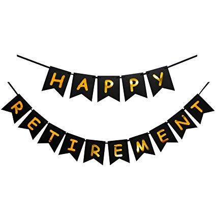 Happy retirement banner clipart graphic black and white Amazon.com: INNORU Happy Retirement Banner Black and Gold Party ... graphic black and white