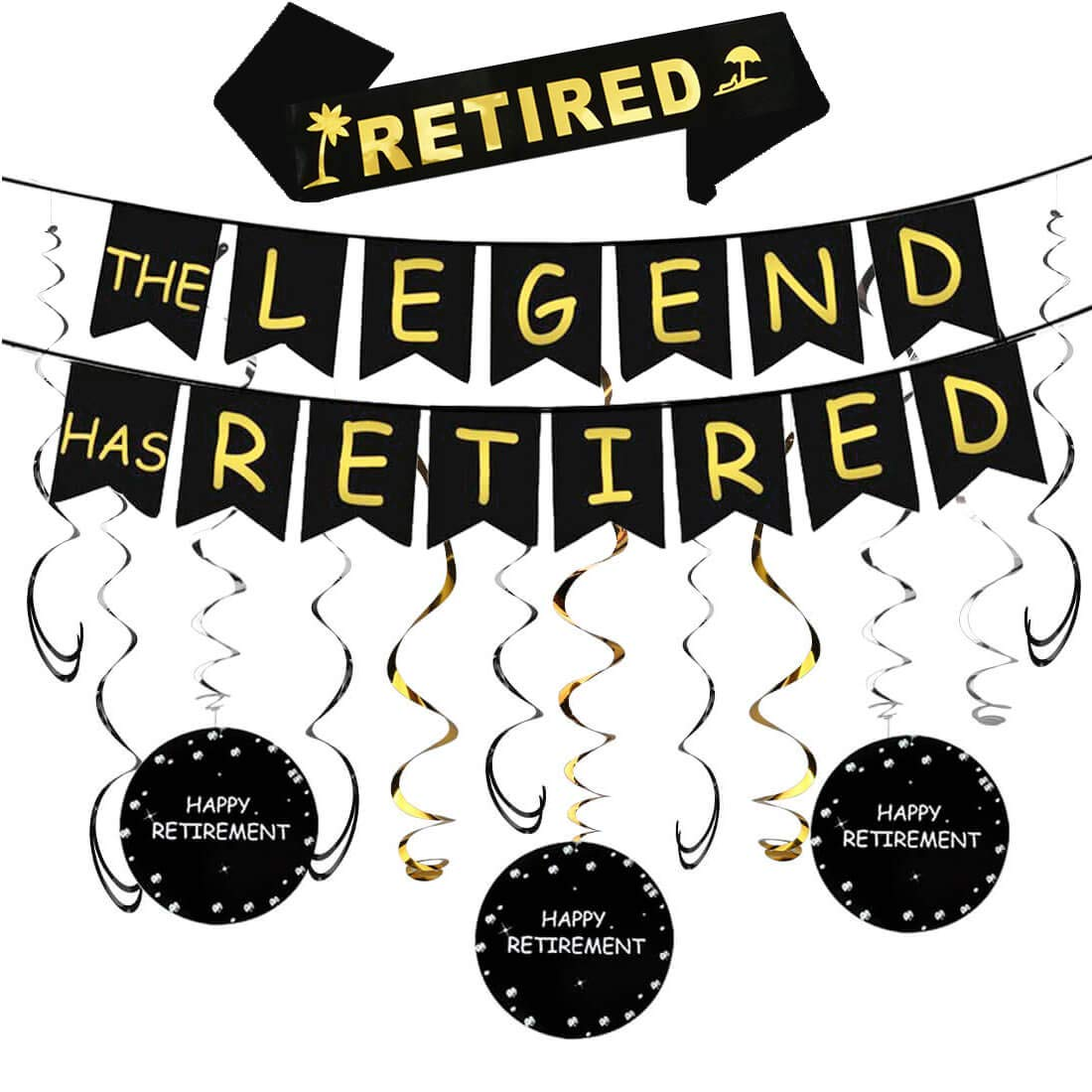 Happy retirement banner clipart clip royalty free Amazon.com: Happy Retirement Party Decorations Kit - The Legend Has ... clip royalty free