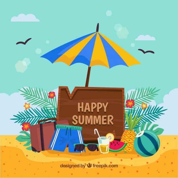 Happy summer clipart vector download Happy summer background with beach objects Vector | Free Download vector download