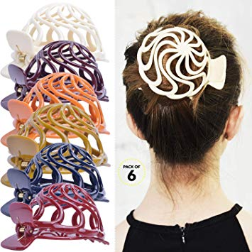 Happy teen girl in hair bun clipart clipart royalty free RC ROCHE ORNAMENT Womens Shell Dome Round Circle Stylish Plastic Strong  Grip Hinge... clipart royalty free