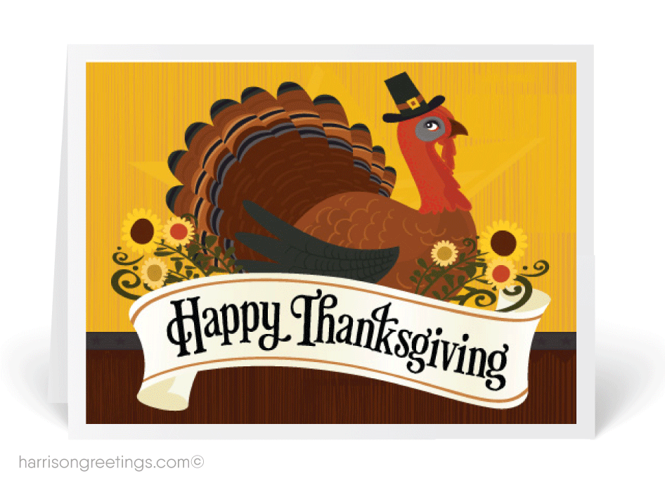 Happy thanksgiving business clipart svg black and white download Traditional Turkey Thanksgiving Card [TG61] : Harrison Greetings ... svg black and white download