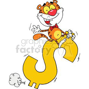 Happy tiger clipart banner library library Happy Tiger Rides A Big Golden Dollar Sign clipart. Royalty-free clipart #  378283 banner library library