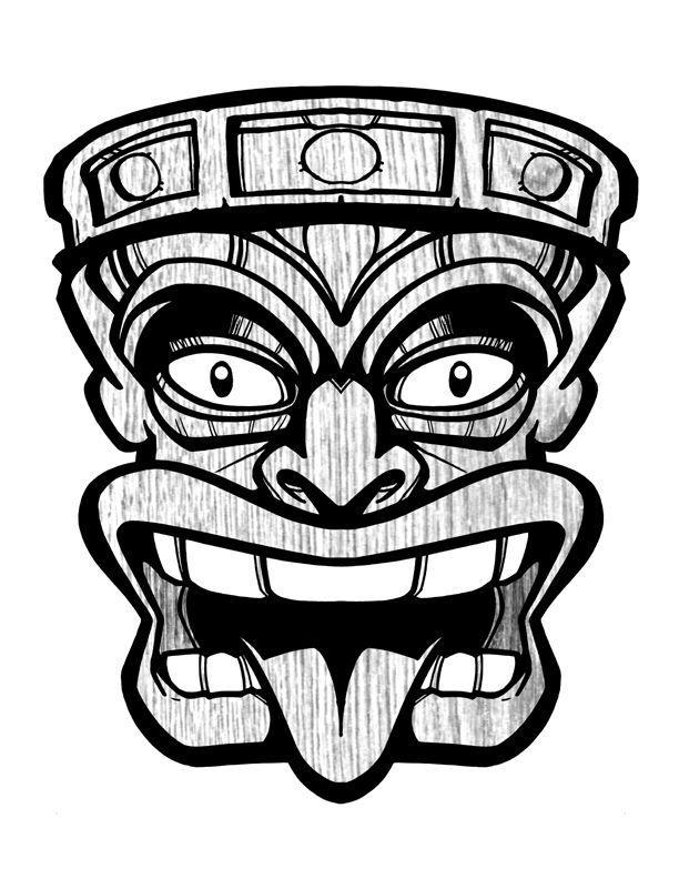 Tiki totem faces black and white clipart banner black and white library Collection of Tiki clipart | Free download best Tiki clipart on ... banner black and white library