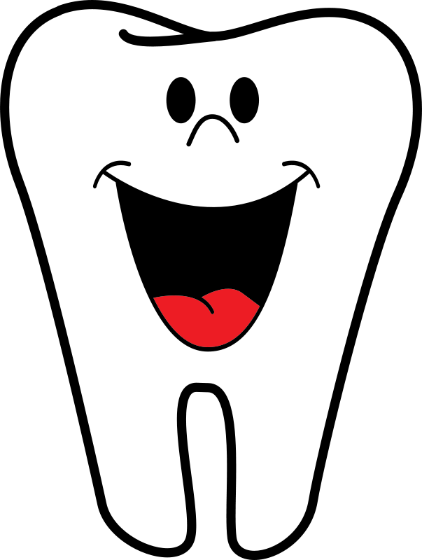 Tooth caricature clipart picture black and white stock Free Clipart: Happy Tooth | tawm1972 picture black and white stock