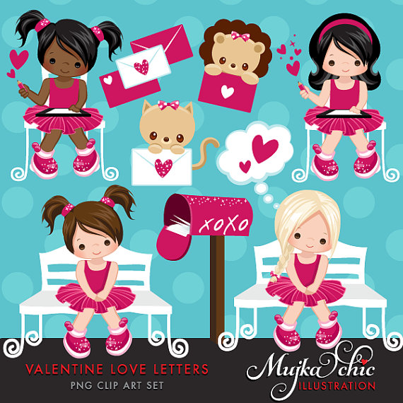 Happy valentines baby girl clipart banner black and white library Valentine Clipart with cute valentine characters, valentine baby ... banner black and white library