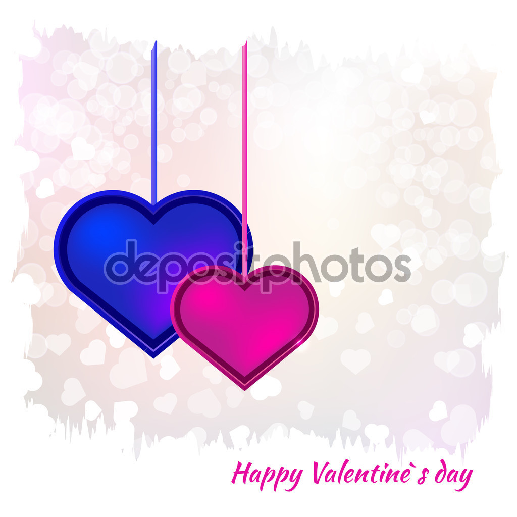 Happy valentines day clipart with blue hearts graphic freeuse Red and blue hearts Valentines day card — Stock Vector © redicka ... graphic freeuse