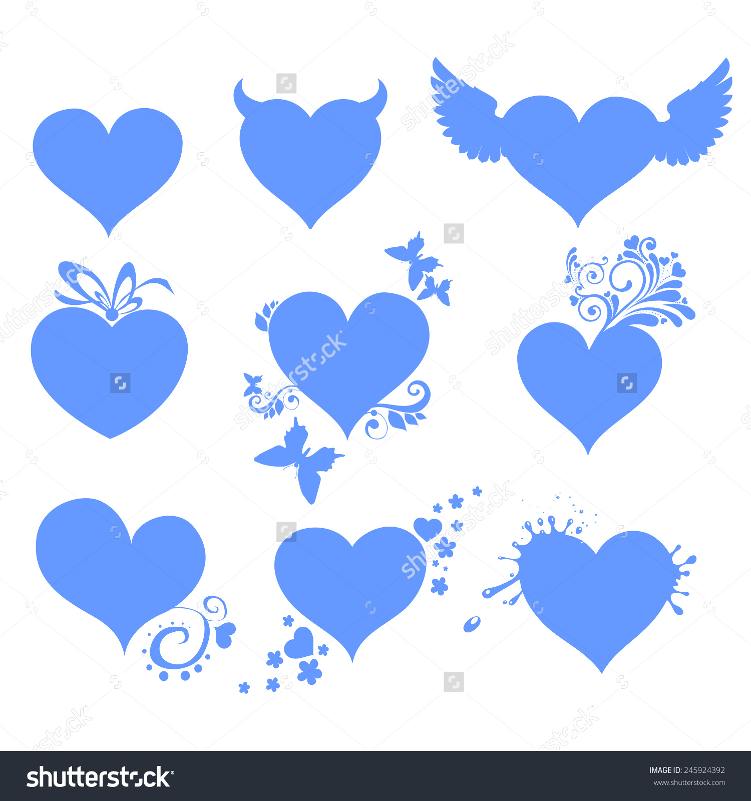 Happy valentines day clipart with blue hearts clip art library stock Blue Hearts Set Isolated On Red Background. Happy Valentine Day ... clip art library stock