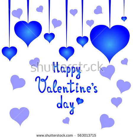 Happy valentines day clipart with blue hearts vector royalty free stock Collection Hand Painted Blue Hearts Isolated Stock Illustration ... vector royalty free stock