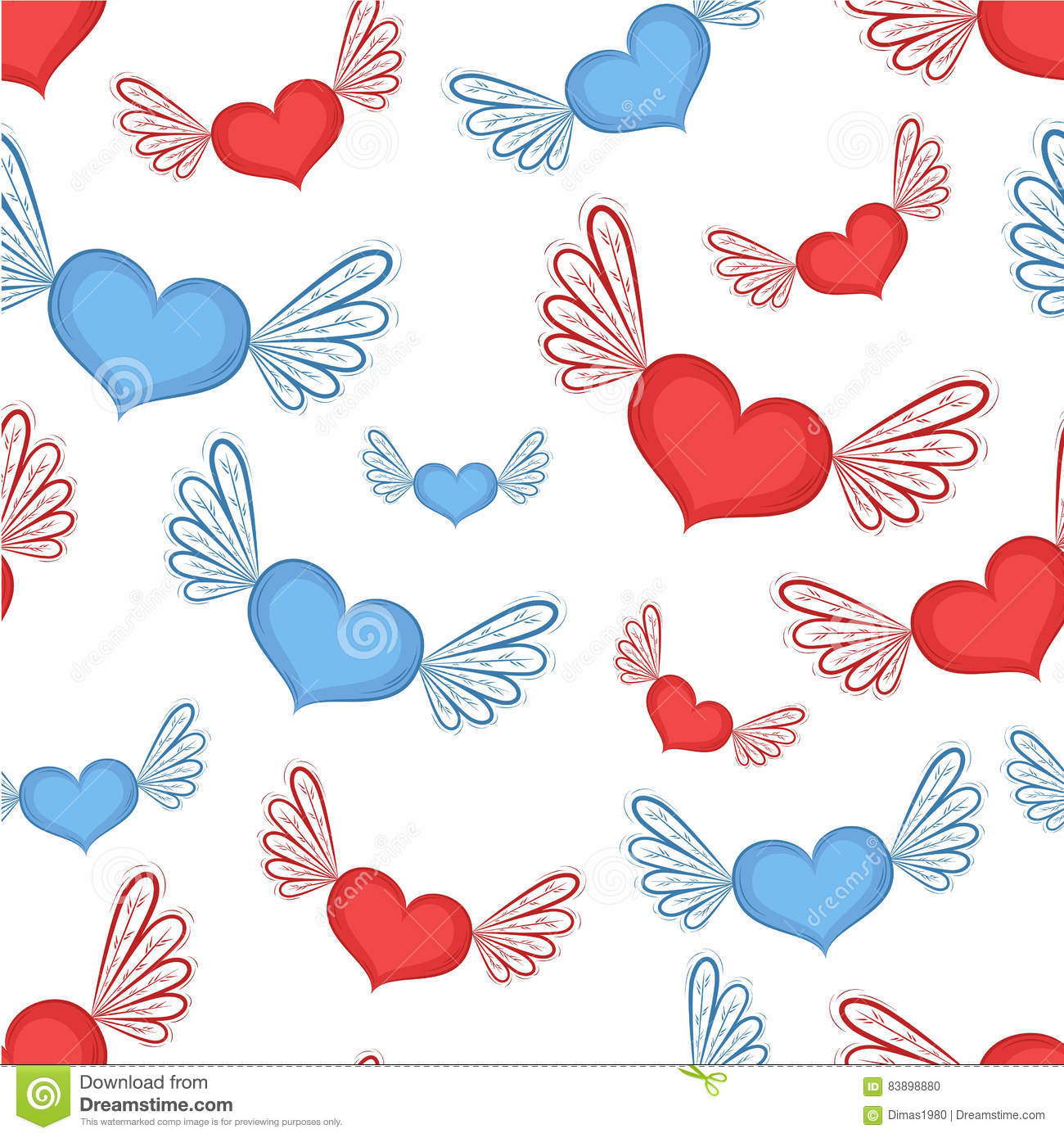 Happy valentines day clipart with blue hearts clip art freeuse library Happy Valentines Day Seamless Pattern Stock Vector - Image: 83898880 clip art freeuse library