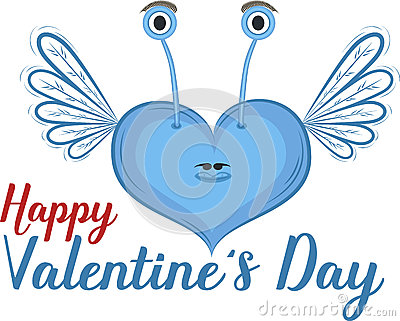 Happy valentines day clipart with blue hearts png library library Happy Valentines Day Card With Heart Stock Vector - Image: 83896135 png library library