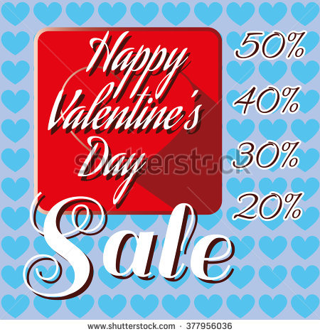 Happy valentines day clipart with blue hearts image freeuse stock Happy Valentine'S Day Sale Banner. Big Red Heart Tile And White ... image freeuse stock