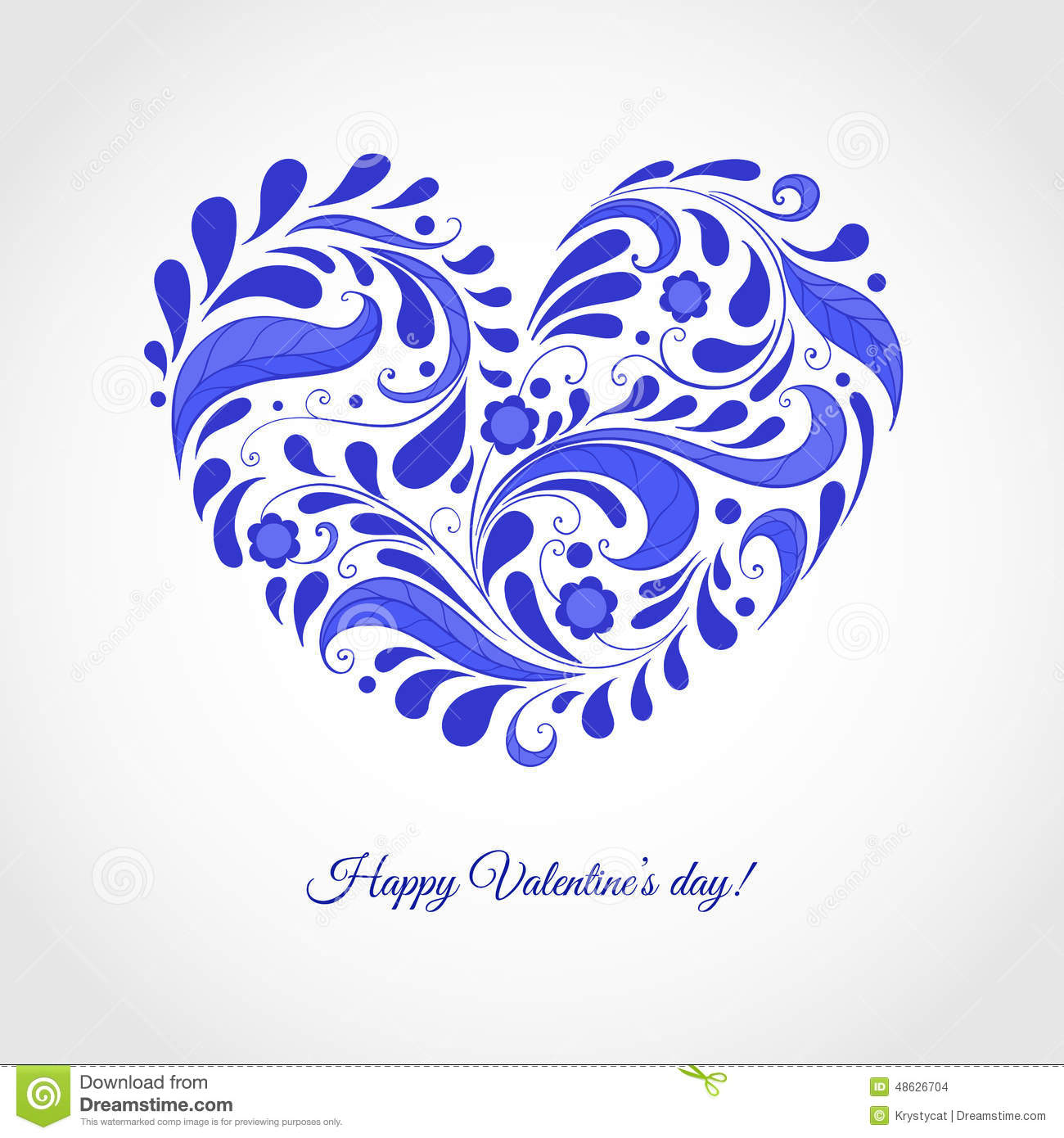 Happy valentines day clipart with blue hearts jpg free Happy Valentine's Day Card With Blue Heart Stock Vector - Image ... jpg free