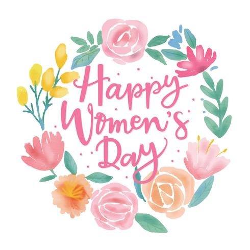 Happy women s day clipart vector black and white library Happy Women\'s Day Flower Water Colour Vector - Download Free Vectors ... vector black and white library