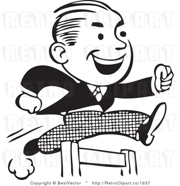 Hard work clipart black and white graphic freeuse download Retro clipart of hard working businessman jumping hurdles ... graphic freeuse download