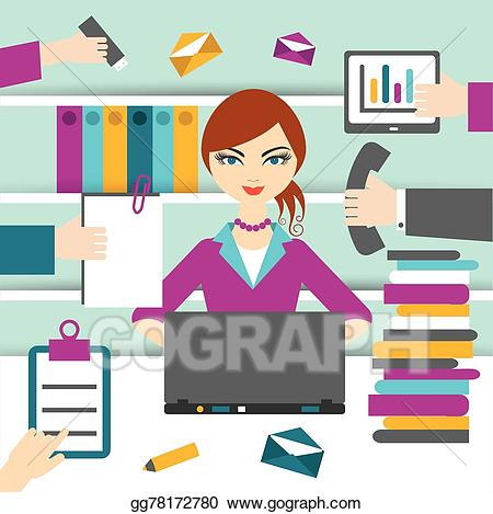 Hard working clipart clip freeuse library EPS Illustration - Hard working secretary. Vector Clipart gg78172780 ... clip freeuse library