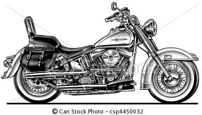 Harley clipart black and white jpg freeuse download Stock Illustration - Harley Hawg Motorcycle - stock illustration ... jpg freeuse download