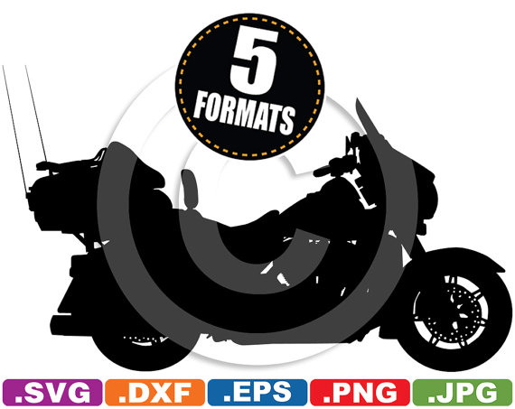 Harley davidson clipart silhouette image library download Harley-Davidson Touring Motorcycle Silhouette Clip Art svg & image library download