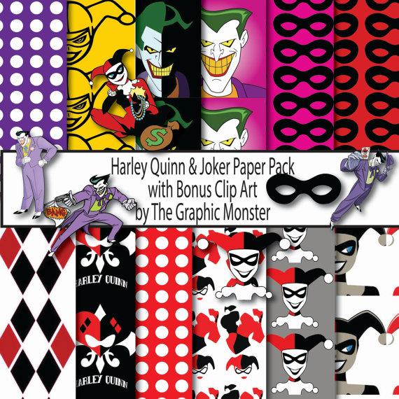 Harley quinn and joker clipart vector library library Joker & Harley Quinn Paper Pack with Bonus Clip Art Clip Art in ... vector library library