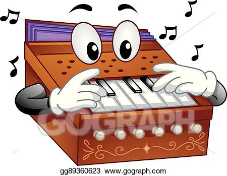 Harmoniam clipart banner free library Vector Illustration - Mascot musical instrument harmonium. Stock ... banner free library