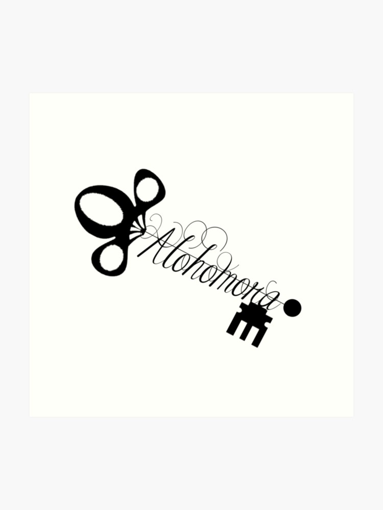 Harry potter alohomora clipart black and white clipart stock Alohomora Skeleton Key   Art Print clipart stock
