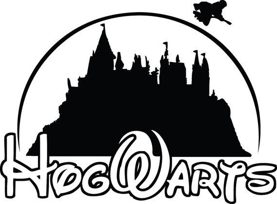 Harry potter building clipart black and white download Hogwarts Harry Potter Disney School Decal Sticker | Cool stuff ... black and white download