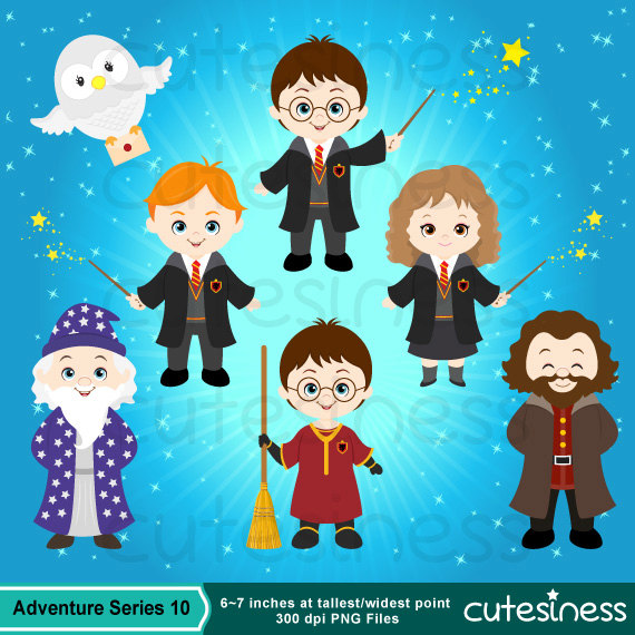 Harry potter character clipart jpg black and white stock Harry potter clipart | Etsy jpg black and white stock