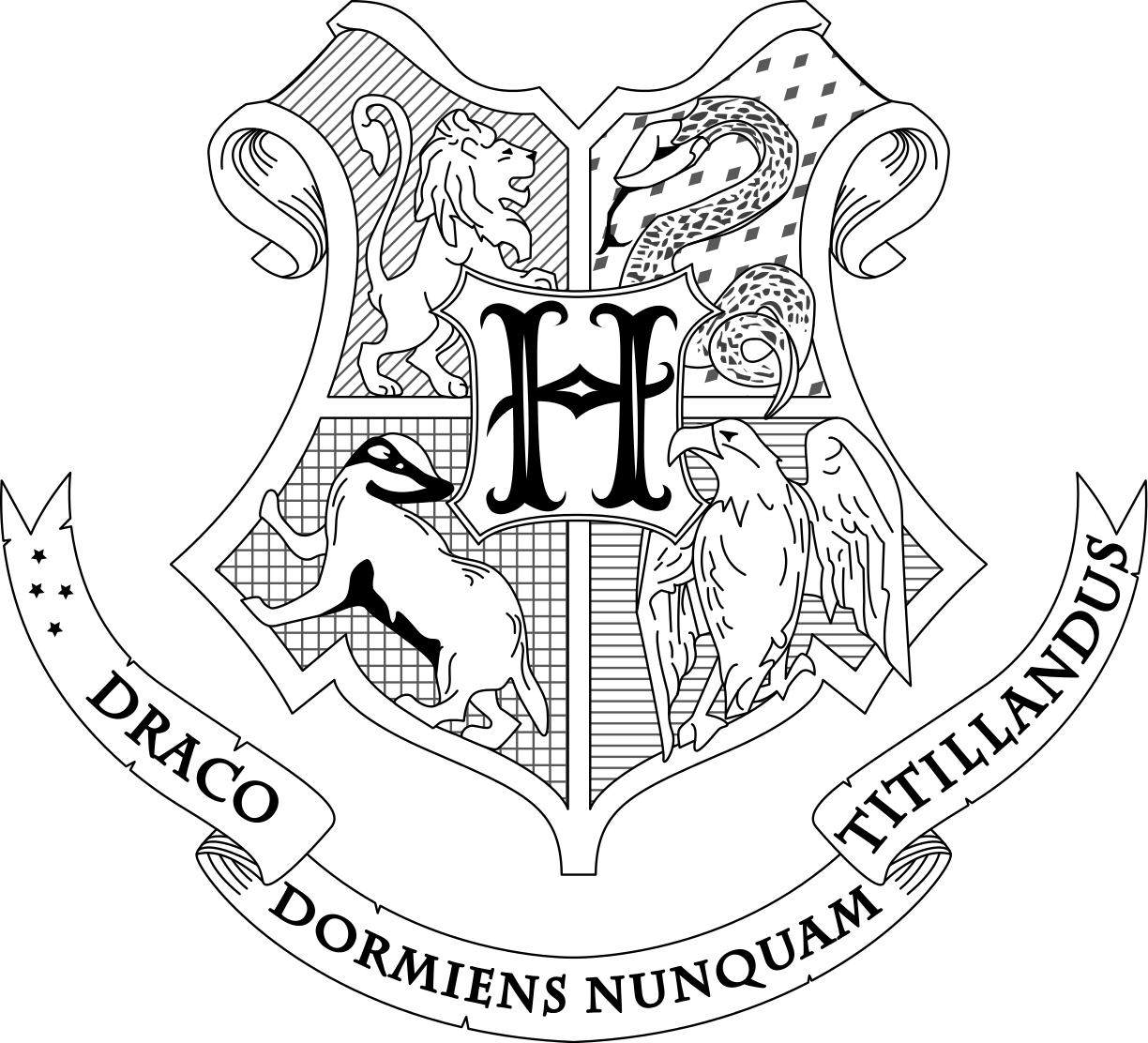 Harry potter house symbols clipart image royalty free library Hogwarts coat of arms. Draco dormiens nunquam titillandus - A ... image royalty free library