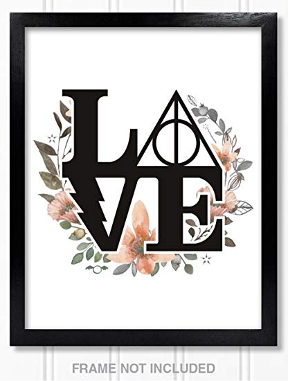Harry potter love clipart image freeuse stock Confetti Fox Harry Potter Poster Wall Decor Gift - 8x10 Unframed Art Print  - Floral Watercolor Love Symbol Decal Tattoo Deathly Hallows for Bathroom,  ... image freeuse stock