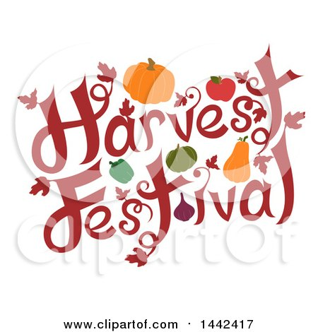 Harvest festival clipart svg Clipart Of A Harvest Festival Text Design With Produce Royalty ... svg