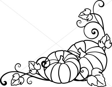 Harvest time border clipart black and white transparent Pumpkins and Vines Lineart | Outlines | Black, white art drawing ... transparent