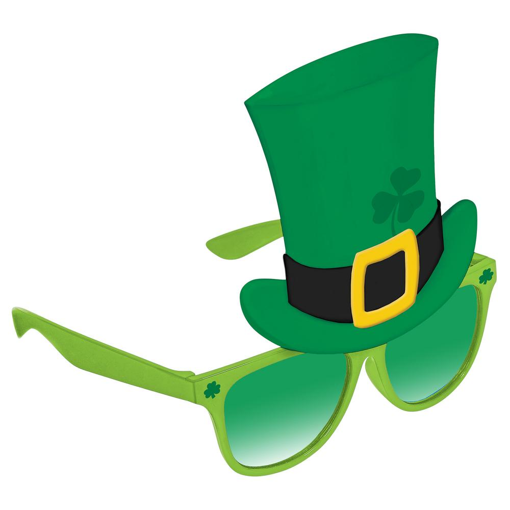 Hat and sunglasses clipart picture black and white library Amscan Plastic Leprechaun Hat St. Patrick\'s Day Sunglasses (2-Pack) picture black and white library