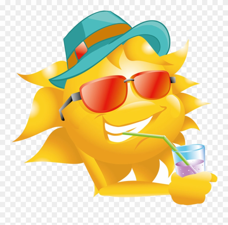 Hat and sunglasses clipart picture freeuse Sun Straw Clip Art Juice Drink Transprent - Smiley With Sun Hat ... picture freeuse