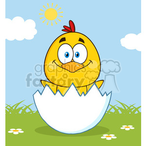 Hatching chick clipart transparent stock royalty free rf clipart illustration happy yellow chick cartoon character  hatching from an egg vector illustration with background . Royalty-free ... transparent stock
