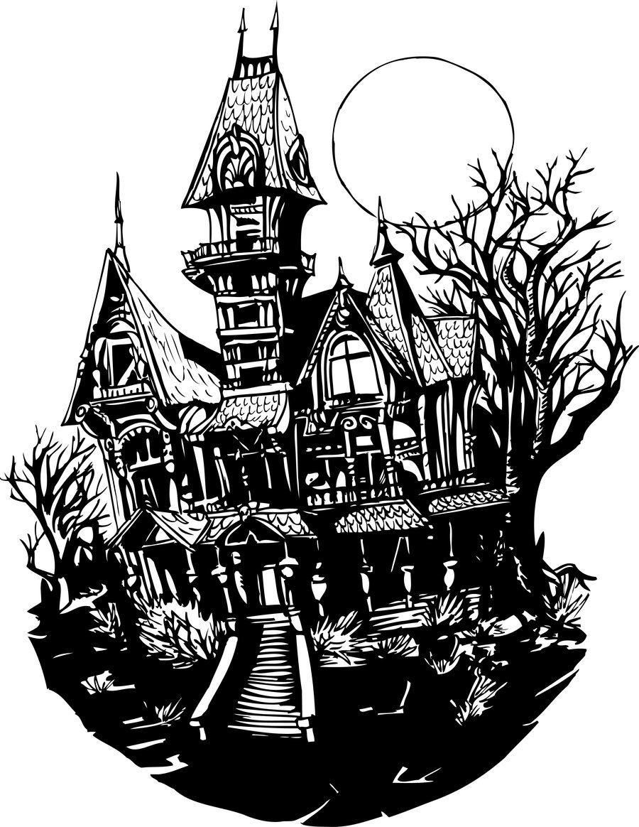Haunted castle clipart black and white clip black and white stock Free Haunted Houses Clipart, Download Free Clip Art, Free Clip Art ... clip black and white stock