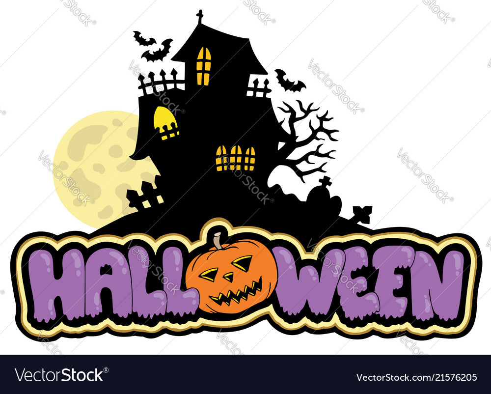 Haunted house vector clipart transparent library Halloween sign with haunted house transparent library