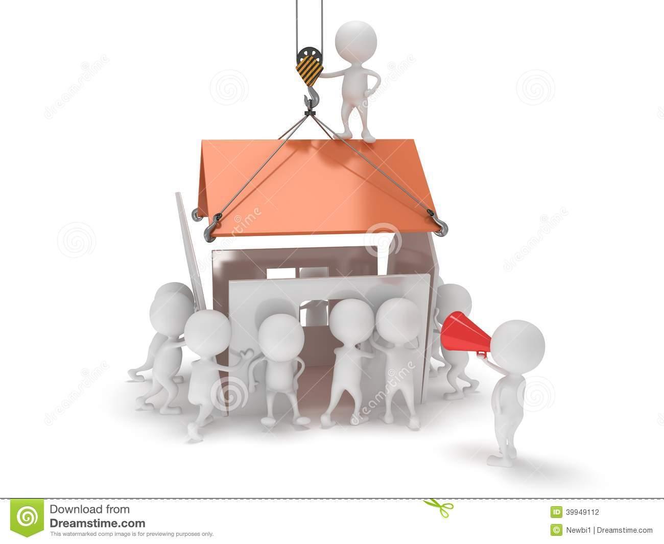 Haus bauen clipart graphic transparent stock Leute 3D Bauen Ein Haus Stock Abbildung - Bild: 40167532 graphic transparent stock