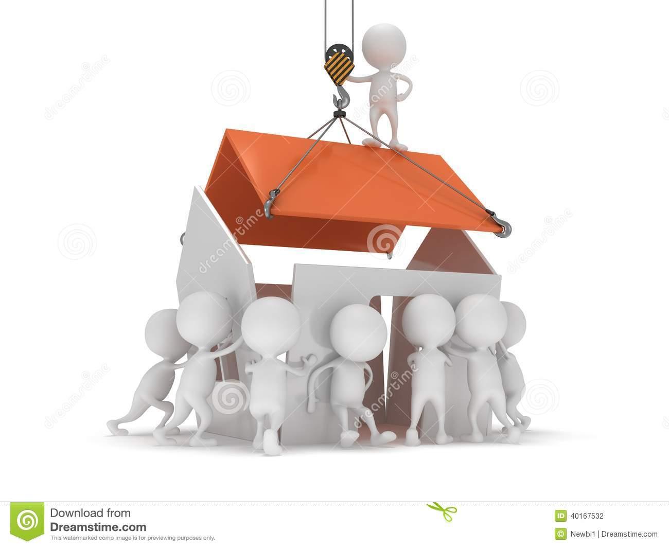 Haus bauen clipart clip art download Leute 3D Bauen Ein Haus Stock Abbildung - Bild: 40167532 clip art download