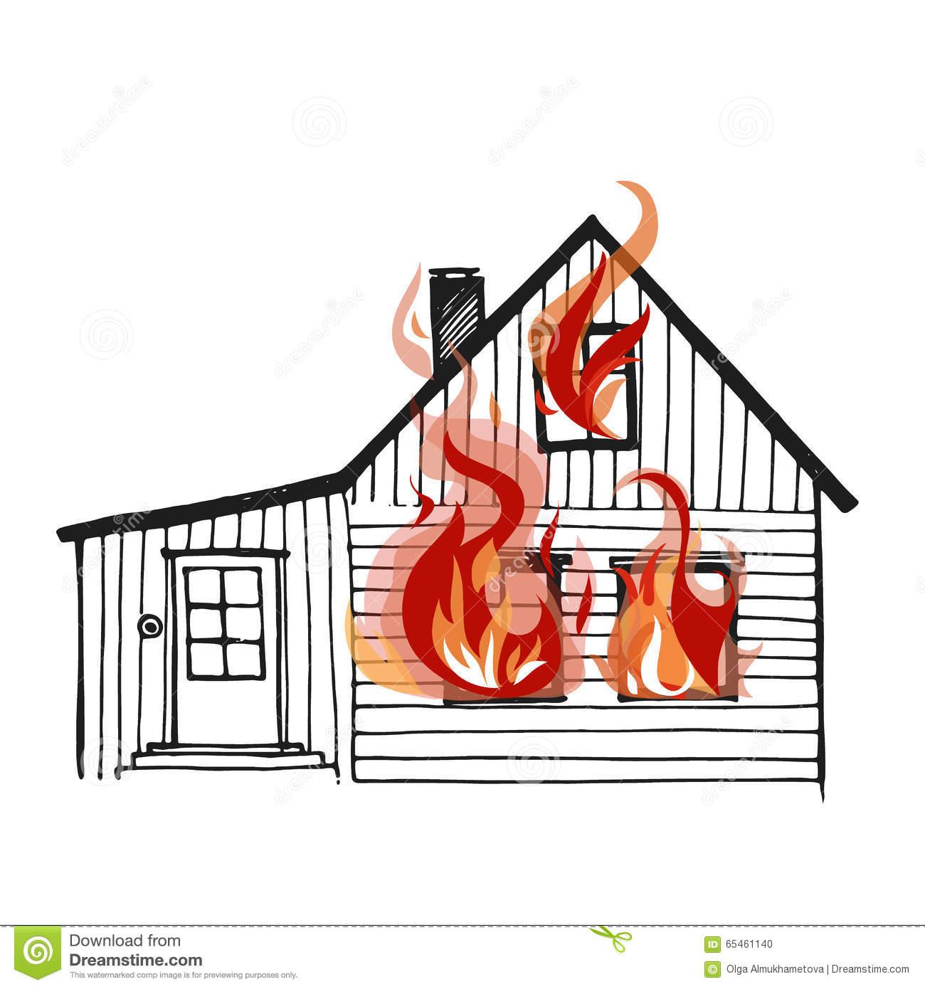 Haus brennt clipart svg black and white Brennendes Haus Auf Weißem Bacground Vektor Abbildung - Bild: 65461140 svg black and white