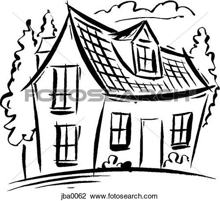 Haus clipart schwarz wei banner library Stock Illustration of mansion b/w szo0405 - Search Clipart ... banner library