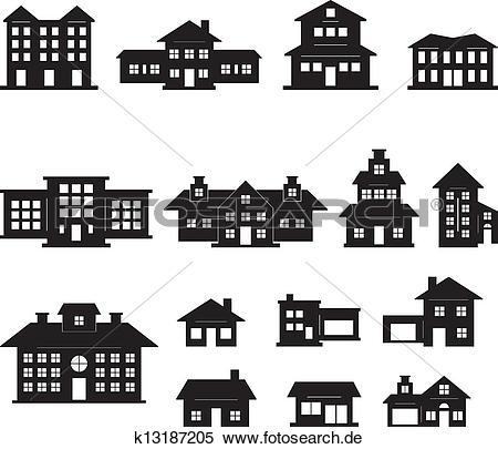 Haus clipart schwarz wei clip art freeuse stock Clipart - haus, schwarz weiß, satz, 2 k13187205 - Suche Clip Art ... clip art freeuse stock