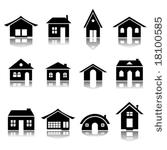 Haus clipart schwarz wei vector library download Vector Images, Illustrations and Cliparts: vector set of various ... vector library download